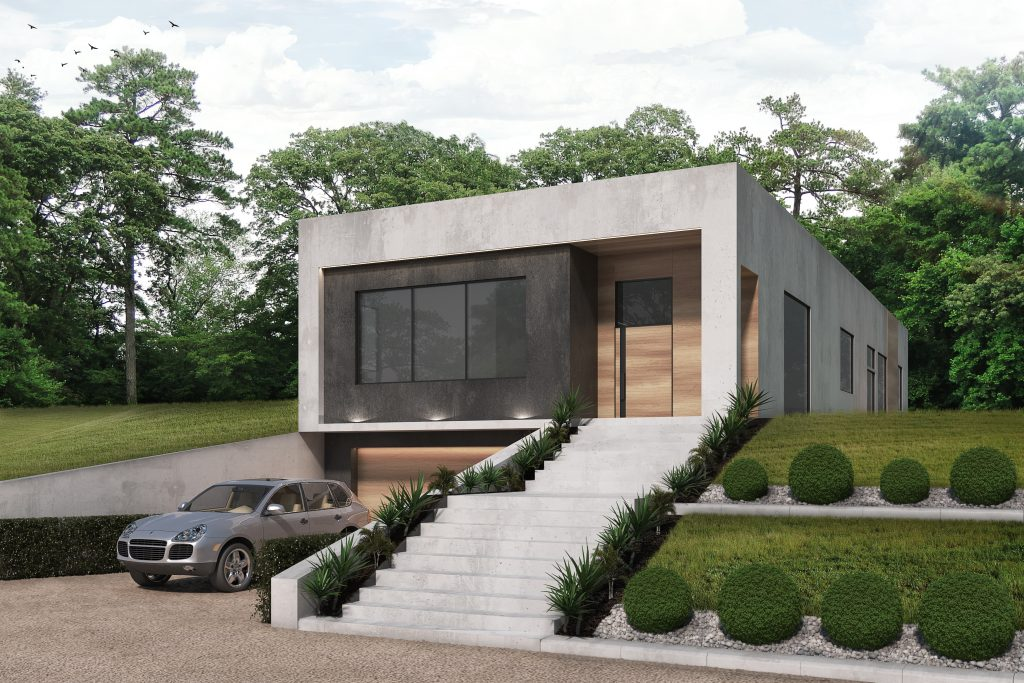 Exterior of Modern residence with drive under garage