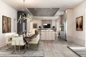 Modern Open Floor Plan of Kitchen and Dining Room